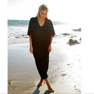 Barefoot Dreams Luxe Milk Jersey Caftan in Black
